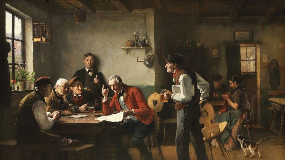 Václav Brožík,  'Men of politics in the village',  source: public domain