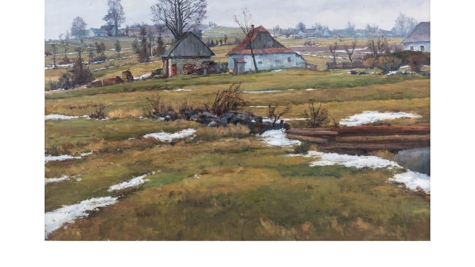 Josef Jambor: Last Snow in the Marshlands  (1961)   Photo: Horácká Gallery in Nové Město na Moravě