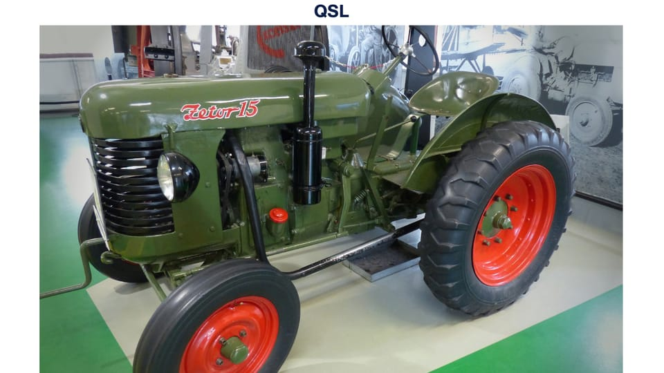 Zetor 15 tractor with a single-cylinder diesel engine,  manufactured between 1946–1949  (National Agricultural Museum),  photo: Czech Radio - Radio Prague International