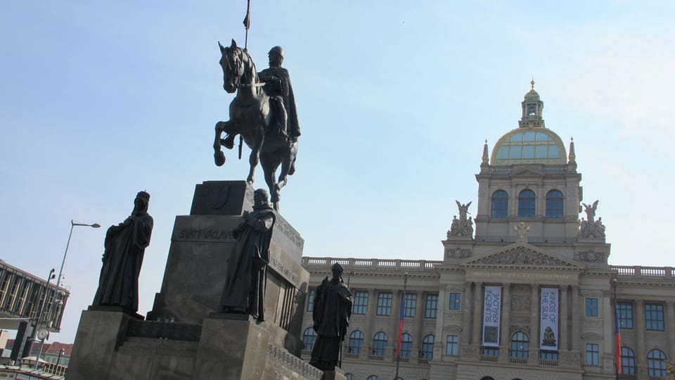 The famous equestrian statue is surrounded by the statues of four saints. They are St. Ludmila,  St. Prokop,  St. Vojtěch and St. Agnes,  photo: Barbora Němcová