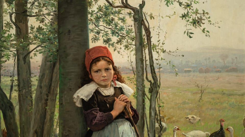 Václav Brožík,  'A goose girl',  source: Archive of National Gallery of Prague