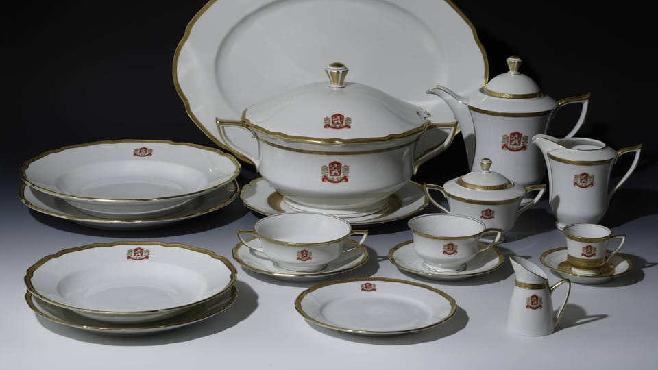 A selection from the dining set used by President Gustáv Husák,  1970s,  photo: © Prague Castle collection,  Lány chateau,  Jan Gloc