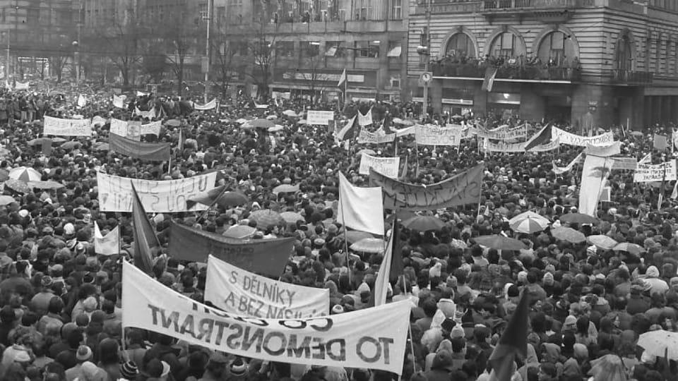 One of the demonstrations on Wenceslas Square during Velvet Revolution,  photo: Dušan Bouška