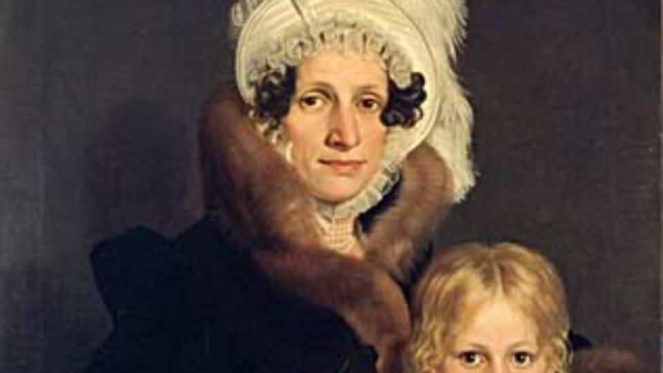 Antonín Machek,  Portrait of Josefa Daubková with her son Eduard,  1817