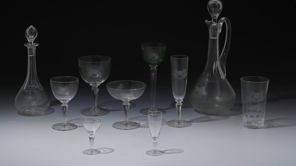 A selection from the dining set of President T.G.Masaryk,  photo: © Prague Castle collection,  Jan Gloc