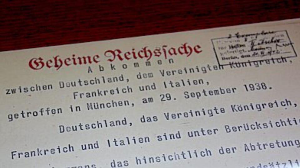 Copy of the Munich Agreement,  photo: Štěpánka Budková