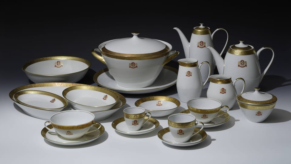 A selection from the porcelain dining set used by Antonín Novotný after 1966,  photo: © Prague Castle collection,  Lány chateau,  Jan Gloc