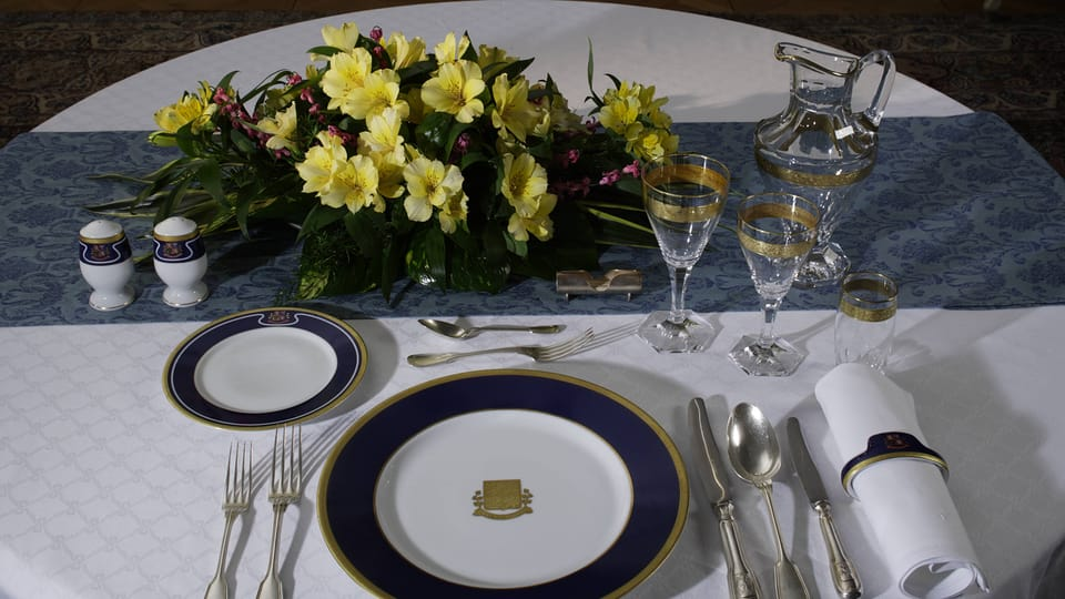 A selection from the dining set used by President Václav Havel,  after 1998,  photo: © Prague Castle collection,  Lány chateau,  Jan Gloc