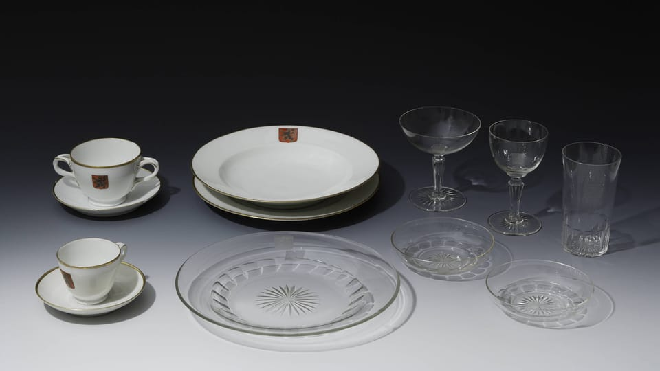 A selection from the dining set of President T.G.Masaryk,  1920s,  photo: © Prague Castle collection,  Jan Gloc