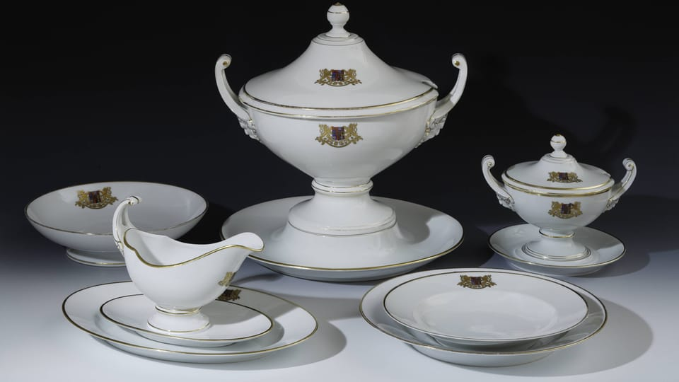 A selection from the dining set of President T.G.Masaryk,  photo: © Prague Castle collection,  Lány chateau,  Jan Gloc