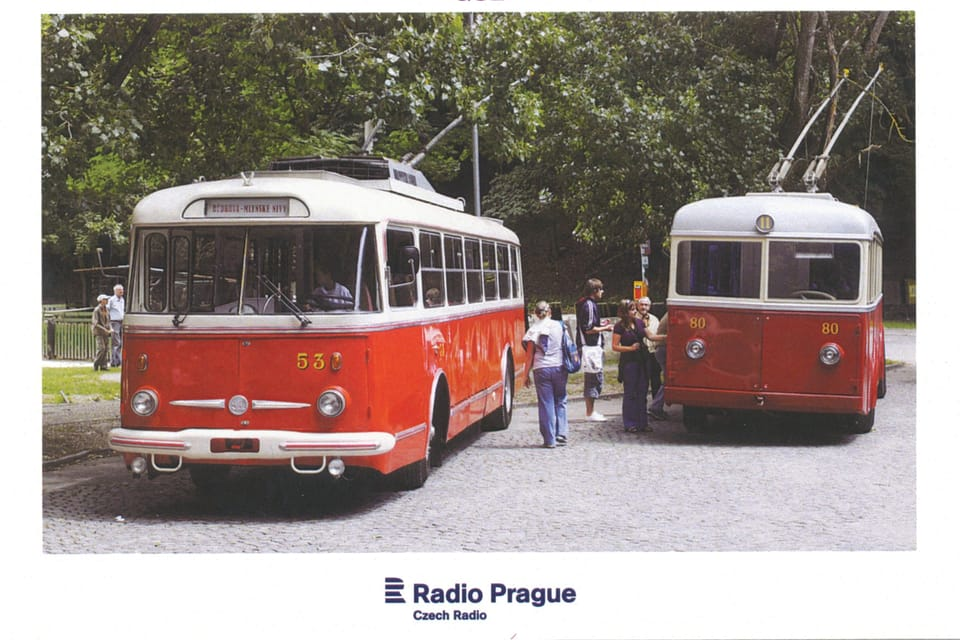 Trolleybus  (FBW Oerlikon) Škoda Tr,  1960s,  photo: Marián Peiger,  ČTK