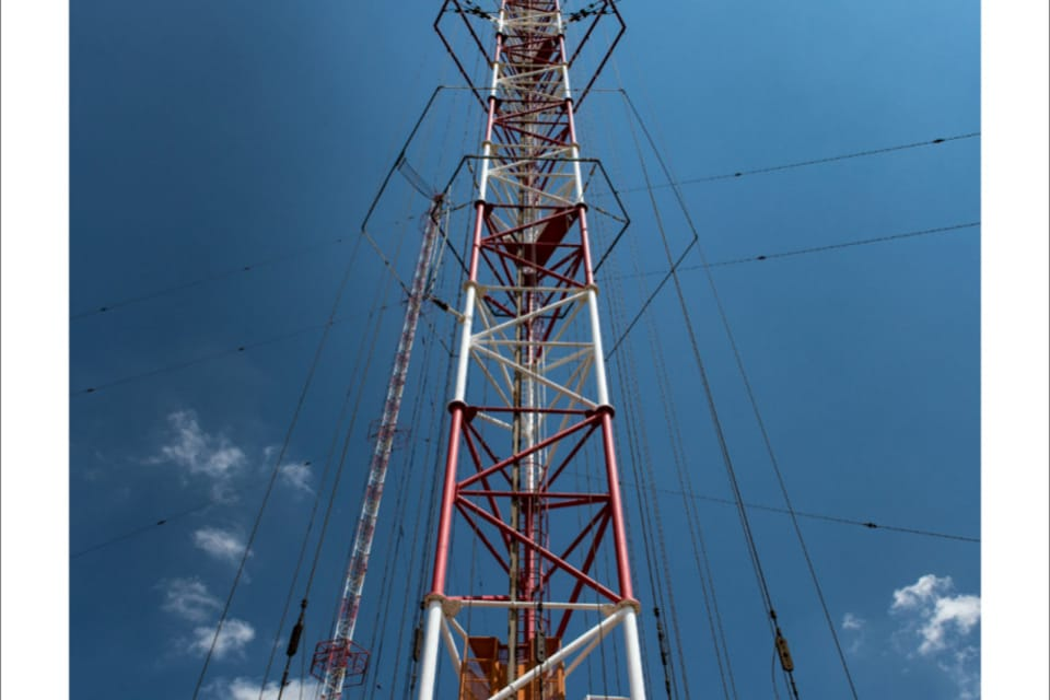 At 335 m,  the Liblice transmitter is the highest structure in Czechia,  photo: Andrea Filičková